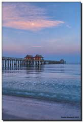Gulf Coast Dawn (Fraggle Red) Tags: ocean moon gulfofmexico water clouds sunrise dawn pier sand florida naples westcoast hdr naplespier singleexposure 7exp collierco canonef1635mmf28liiusm dphdr forthesky forthewater canoneos5dmarkiii 5d3 5diii adobelightroom5