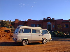 Vanagon side view in front of house