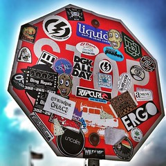 A Bunch of Stickers (jenni from the block) Tags: sign traffic stickers stop bumper bunch delaware liquid surfshop iphoneography iphone6 ipdegirl snapseed