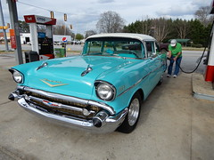 57 Chevy (Just Back) Tags: car checy chevrolet auto american green blue teal gas fuel restored proud sc carolina citgo joanna