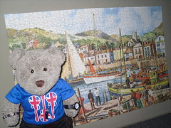 Not whiffy! (pefkosmad) Tags: jigsaw puzzle used secondhand vintage imperial towerpress 1000pieces complete 29x19in oldharbour painting tedricstudmuffin teddy ted bear cute soft stuffed toy fluffy animal plush hobby leisure pastime