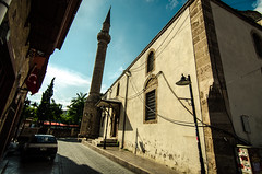 Old mosque (joshmonk) Tags: street city blue urban building tower heritage history car turkey outdoors spring nikon asia warm day bright flag islam may sunny wideangle mosque tokina antalya ultrawide f28 1116 2013 atxpro 1116mm dxii d7000
