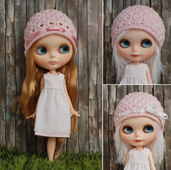 new hat design (*KaChu*) Tags: pink wool hat holes ribbon blythe knitted newdesign