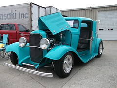 1932 Ford 3 window coupe (cjp02) Tags: show road 3 hot classic ford window car bike 1932 truck vintage rat long lafayette teal indiana motorcycle rod preserved veteran coupe johns aw