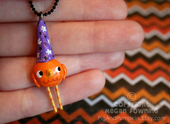 Spooky Sam (Pig & Pumpkin) Tags: party sculpture orange holiday cute bird halloween hat stars necklace purple handmade wizard originalart charm paperclay airdryclay megandowning pigandpumpkinco