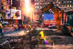 ([ raymond ]) Tags: street nyc light sun newyork us site workers construction unitedstates flag union timessquare flare hdr hardhats img7385