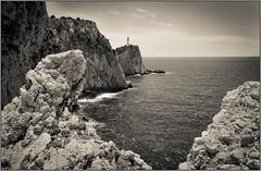 Lefkada (bernd obervossbeck) Tags: lefkada lighthouse leuchtturm insel island greece griechenland greekisland griechischeinsel sepia bw blackandwhite sw schwarzweis schwarzweiss ioniansea ionischesmeer