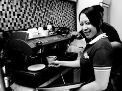 coffe waitress (Mufti Nur Ichrom) Tags: bw coffee jakarta waitress