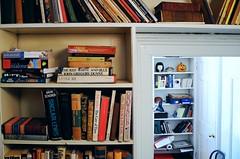 book-lined staircase (omoo) Tags: newyorkcity houses pumpkin office doll apartments westvillage books staircase bookshelves bookcases greenwichvillage writersroom dscn5227 ceramicpumpkin booklinedstaircase japanesedollhead booksonastaircase