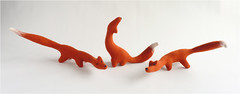 Trio of needle felted foxes (Gretel Parker) Tags: felt fox needlefelting foxes needlefelt needlefelted toyfox needlefeltfox gretelparker