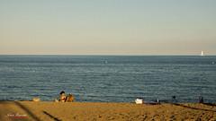Playa (Jeton Bajrami) Tags: blue sunset shadow summer sun water palms soleil colours sommer sony playa plage ete a77 paraols alpha77
