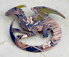 BBdrag brooch (the Blue Kraken) Tags: pin technology dragon contemporary brooch jewelry lizard fantasy winged circuit cyberpunk ecofriendly steampunk sustainableliving pcbs upcycled thebluekraken circuitboarddragon