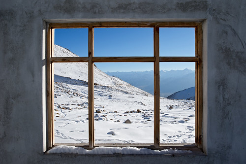 Window shot of Leh ladakh snow mountain background