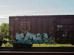 . . ICH . . (YardJock) Tags: graffiti yme spraypaint boxcar ichabod freighttrain railwaytracks slf benching