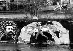 jumping painter (wojofoto) Tags: amsterdam painter ndsm graffiti wojofoto jumping anopsy graffitiartist grafitti deliciousbrains omatics wolfgangjosten nederland netherland holland zwartwit monochrome blackandwhite straatfoto streetphoto mensen people