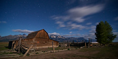 Moulton Barn II (PossiblyNot) Tags: trees usa mountains night clouds barn rural stars moonlight wyoming np tetons wy mormonrow moultonbarn