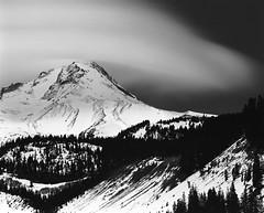 Mt. Hood midnight (Zeb Andrews) Tags: winter bw snow mountains 120 film night oregon analog mediumformat landscape hiking mthood pacificnorthwest kodaktrix 6x7 lenticular pentax6x7 coolclouds