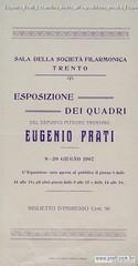 Eugenio Prati Locandina Invito all'esposizione mostra Eugenio Prati Trento 1907