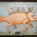 "The Catfish, Oil on Canvas 47x26 <a style=""margin-left:10px; font-size:0.8em;"" href=""http://www.flickr.com/photos/11233681@N00/12196743956/"" target=""_blank"">@flickr</a>"