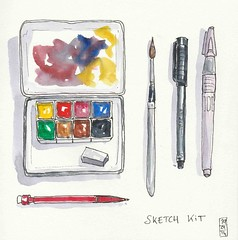 Sketch kit (Aurelie Morin) Tags: pen ink watercolor sketch drawing aquarelle dessin sketchkit pittpens
