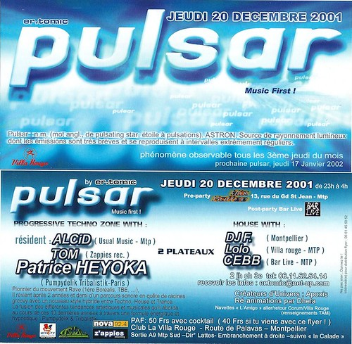 """Dj Patrice Heyoka - Flyer 20/12/2001 - er.tomic """"Pulsar"""" @ Villa Rouge (Montpellier) <a style=""""margin-left:10px; font-size:0.8em;"""" href=""""http://www.flickr.com/photos/110110699@N03/12211100415/"""" target=""""_blank"""">@flickr</a>"""
