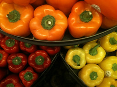 Peppers (Barefoot In Florida) Tags: red orange green vegetables yellow peppers groceries bellpeppers