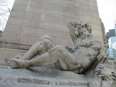 Columbus Circle - The Maine Monument 6123 (Brechtbug) Tags: park new york city nyc winter columbus snow monument circle justice eyes ship peace central maine arts entrance victory battleship 1914 figures has googly sinking sculpted courage fortitude controversial the beaux 1898 representations mythological commemorate 03012014