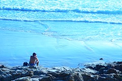 thoughtful (Leonard J Matthews) Tags: blue man male water hope seaside rocks thought alone quote tide dream thoughtful australia queensland ponder gentle bloke coolumbeach pennyforyourthoughts humanhunt mythoto