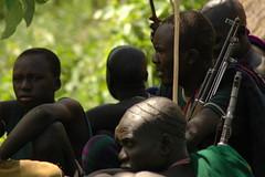 Surma men (vgundarev) Tags: africa travel expedition nikon d70s tribes ethiopia surma omo donga kalashnikov suri