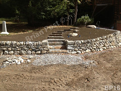 WM Brian Post 16, stone steps, retaining wall, vertical cope, dry laid stone construction, copyright 2014