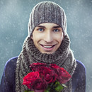 Man Holding Flowers (andris.pukke) Tags: christmas winter red portrait people white snow cold flower cute men love boyfriend wool beautiful hat smiling closeup scarf square photography holding december adult gray posing happiness romance cap gift giving dating casual snowing bouquet woven cheerful knithat valentinesday frontview caucasian toothysmile lookingatcamera