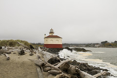 Coquille River Lighthouse area and beach, Oregon (Anna Calvert Photography) Tags: ocean park wood travel sea lighthouse building heritage beach nature grass oregon warning river seaside sand scenery waves unitedstates tourists structure cliffs safety driftwood pacificocean coastal historical bandon 1896 coquilleriverlighthouse bullardsbeachstatepark