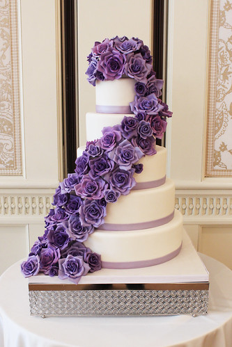 Cascading Purple Rose Four Seasons Wedding Cake