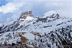 Cinque Torri viewed from the north, Dolomites, Italy (GSB Photography) Tags: italy dolomites cinquetorri valparola pass passodivalparola landscape mountains peaks slope mountain cold frozen cloudy greaterdolomitesroad serene serenity clouds snow ice rocks rugged chairlift nikon d60