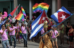 Marchers in a conga line ended four days of activities against homophobia in Ciego de vila, Cuba. Credit: Jorge Luis Baos/IPS (IPS Inter Press Service) Tags: gay peace cuba paz castro bandera vih protests artes sida rainbowflag sociedad prensa jvenes gayrights cubana prevencin vila mariela ciego educacin hsh homofobia civilsociety ciegodeavila oremi ciegovila jorgeluisbaosips censex decoraativas
