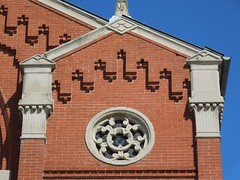 Chizuk Amuno Synagogue - 27-35 Lloyd Street, Baltimore (Anomalous_A) Tags: building brick architecture temple 1800s synagogue maryland landmark baltimore judaism romanesquerevival gothicrevival 1870s baltimoremd mattoni nationalregisterofhistoricplaces nrhp moorishrevival henryberge