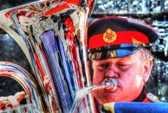 Brass reflections (Tony Shertila) Tags: red england music colour reflection liverpool army europe britain band trumpet horn tuba frenchhorn hdr albertdock polished brassband merseyside battleoftheatlantic