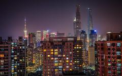 Shanghai Cityscape (Sandro Bisaro) Tags: china city longexposure urban skyline night canon dark landscape lowlight cityscape skyscrapers shanghai clear 中国 上海 pudong orientalpearltower puxi lujiazui swfc 浦东 shanghaitower shanghaiworldfinancialcenter canon5dmarkiii canon2470mmf28liiusm