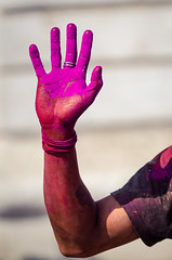 Holi festival, Kathmandu, Nepal (Andrew Taylor Photography) Tags: nepal colour festival hand celebration kathmandu subject colourful festivity holi durbarsquare happyholi basantapurdurbarsquare colouredpowder playholi