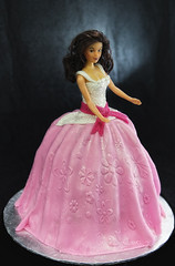 Barbie Doll Cake-Draped in embossed fondant (butterflybakeshop) Tags: nyc newyorkcity pink girl cake doll princess character barbie bakery childrens fondant butterflybakeshop