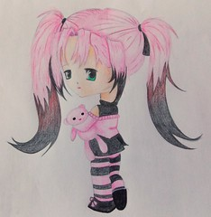 chibi anime girl drawing (Kirsty Charleston) Tags: bear pink red white black anime colour green art girl female pencil grey teddy drawing character chibi colourful draw coloured graphite