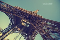 Eiffel Tower (pRaTuL rAgHaV) Tags: travel paris france angle eiffeltower perspective wideangle bluesky contruction refurbished uwa ultrawideangle nikond800 tokinaatxprosd116f28ifdx