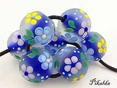 SET : THE BLUE (Pikalda and Verada) Tags: blue flower glass beads colorful ebay bright blossom vivid charm bracelet bead troll etsy lampwork sra biagi lampworksra pikaldabeads veradacraft pikalda handmadelampworksra