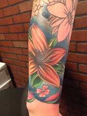 flower sleeve tattoo start by wes fortier