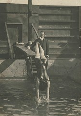 Photograph of a woman (probably Beatrice Kerr) diving into the water (Australian National Maritime Museum on The Commons) Tags: swimming diving entertainer diver swimmers performer beatricekerr