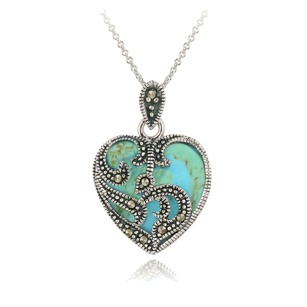 925 Sterling Silver Marcasite & Turquoise Heart Necklace ...