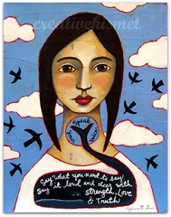 Speak Your Voice (Regina Lord (creative kismet)) Tags: blue light portrait sky art girl birds clouds painting truth quote song mixedmedia voice whale