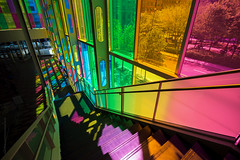 colourspective (tuanland) Tags: windows light shadow summer urban canada color colour glass sunshine architecture nikon stair day montral quebec montreal interior space wide stainedglass qubec shade oldmontreal colourful conventioncentre lightingeffects perpective colotful d600 downtownmontreal nikond600 palaisdescongrsdemontreal vision:text=0502 vision:plant=0691