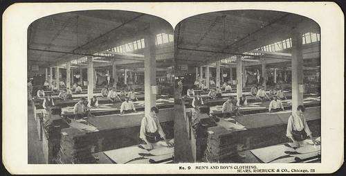 bostonpubliclibrary factories laborers bpl stereographs searsroebuckandcompany clothingindustry photomechanicalprints mailorderbusinesses
