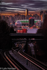 Skytrain Line2 HDR (serpentinite2011) Tags: sunset vancouver downtown stadium tracks telephoto skytrain hdr scienceworld bcplace longexosure